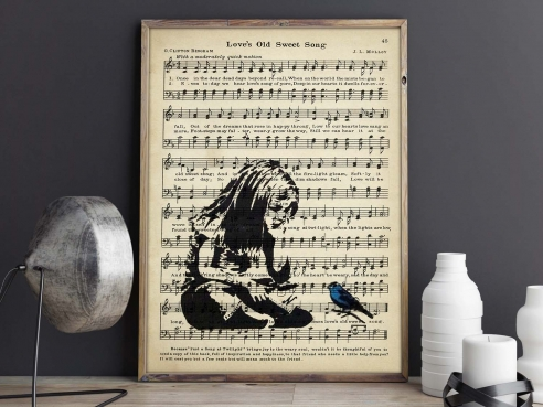 Girl and Love Song - FineArt-Poster