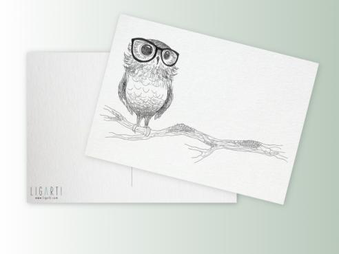 Postkarte - Brilleneule
