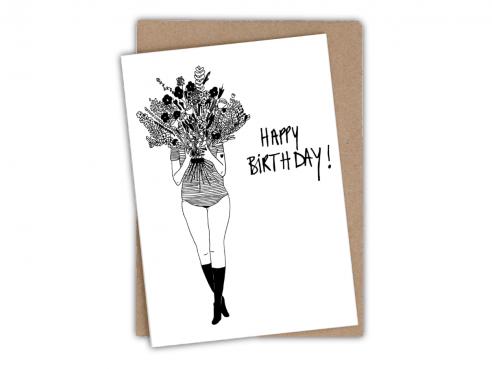 Greeting card - happy birthday - flower girl