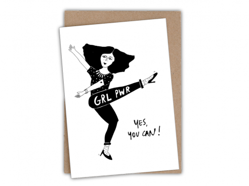 Greeting card - yes you can - pwr grl