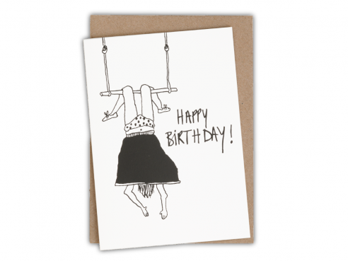 Greeting card - happy birthday - trapeze girl