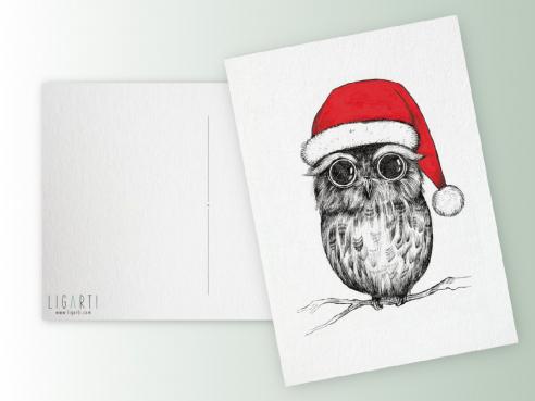 Postkarte - Weihnachtseule
