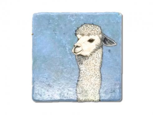 Illustrated tile - alpaca