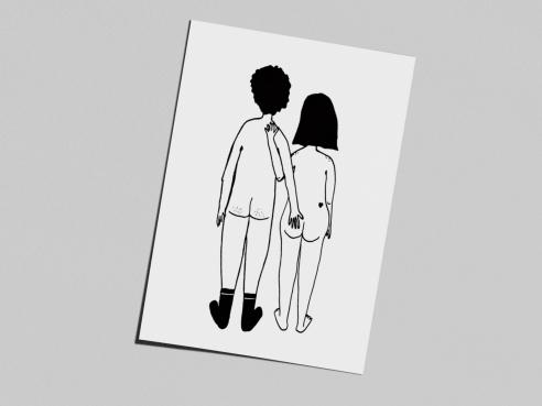 Postcard - naked couple back