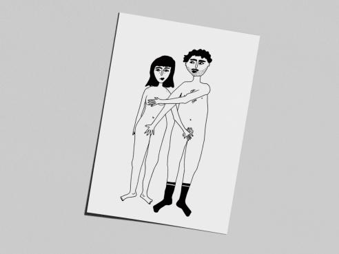Postcard - naked couple