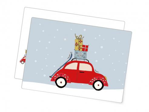 Postkarte - Xmas-car