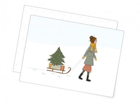 Postkarte - Weihnachtsschlitten