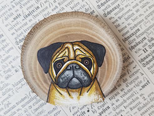 Wooden magnet - Pug