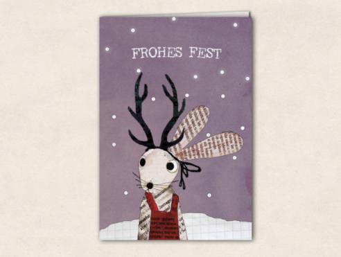Grußkarte - Schneehase