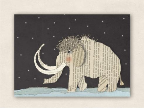 Postkarte - Mammut im Schnee