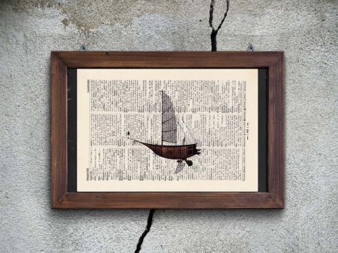 Airship - Print on antique book page