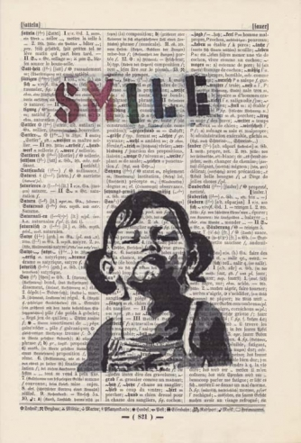 Banksy's SMILE - Print on antique book page