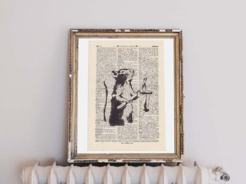 Banksy's Rat - Print on antique book page