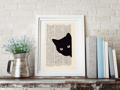 Cat Mietzi - Print on antique book page