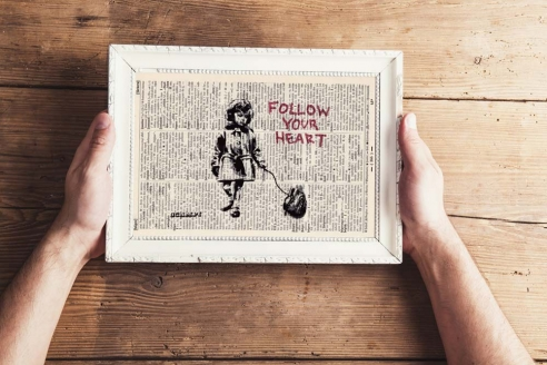 Follow your Heart - Print on antique book page