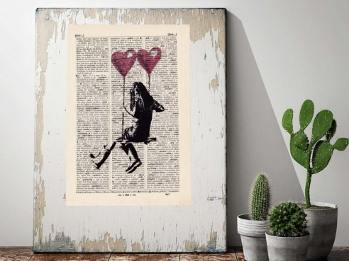 Heart Swing - Print on antique book page
