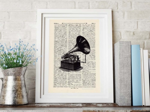 Gramophone - Print on antique book page