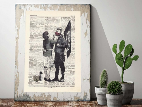 Mother and Son - Print on antique book page