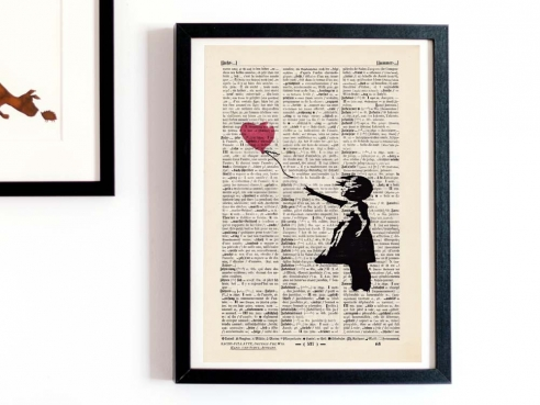 Banksy - Girl with Balloon - Print on antique book page