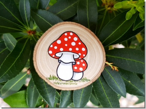 wooden magnet Mushrooms
