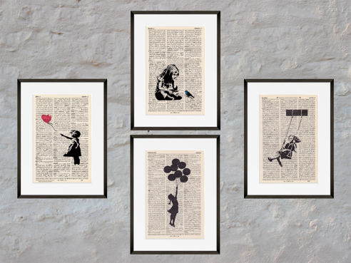 BANKSYs Girls and Hope - Prints on antique book pages - Set of 4