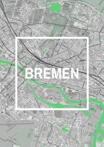 Bremen - Framed City - City Map
