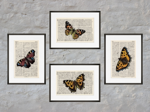 Butterflies Set of 4 - Prints on antique book pages