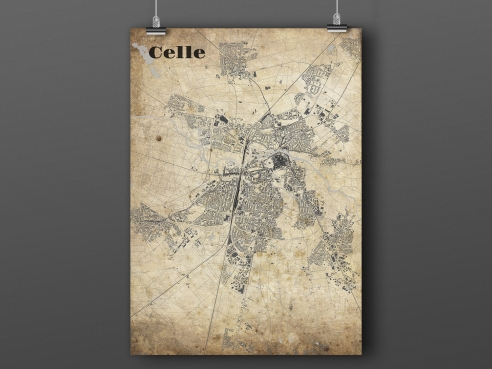 City map of Celle in Vintage Style