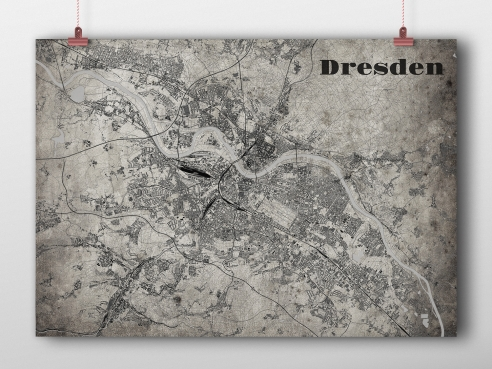 City map Dresden in OldSchool-Sytle