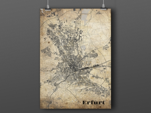 City map of Erfurt in Vintage Style