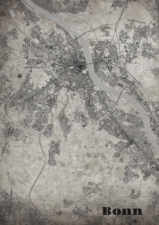 Stadtplan Bonn im Old School - Style