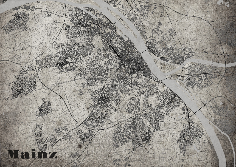 Stadtplan Mainz im Old School - Style