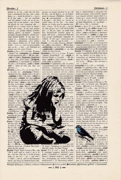 Banksy - Girl and Balloon - Print on antique book page